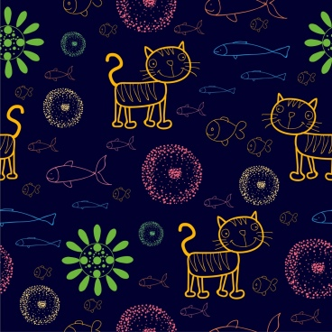 cats fishes flowers background colored cartoon sketch