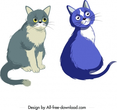 cats icons cute characters colored cartoon design