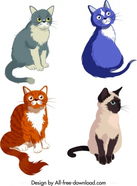 cats icons multicolored lovely cartoon design