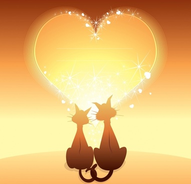romance background sparkling golden heart cats couple decor