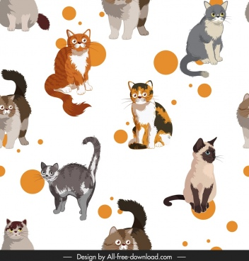 cats pattern colorful species decor