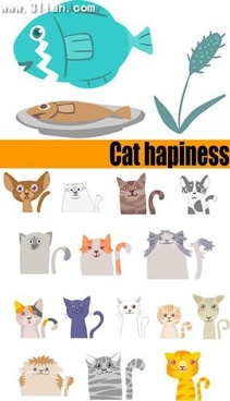 cat happiness design elements funny cartoon character icons