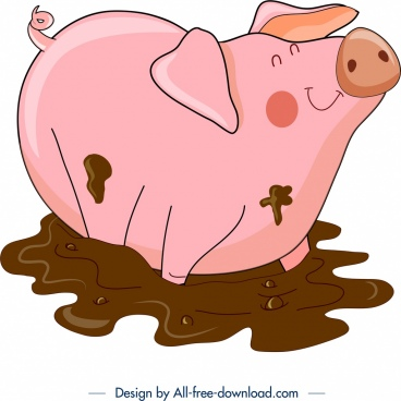 cattle background pig icon colored cartoon design