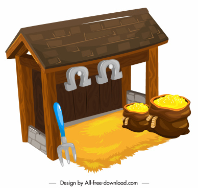 cattle stable icon colorful 3d sketch