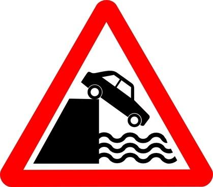 Caution Cliff Water clip art
