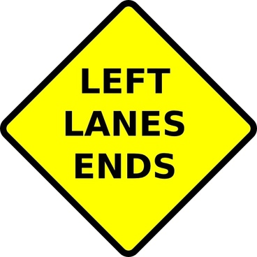 Caution Left Lane Ends clip art