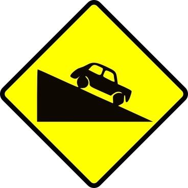 Caution Steep Hill clip art
