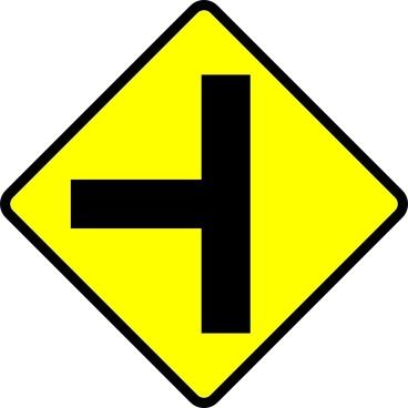 Caution T Junction Road Sign clip art
