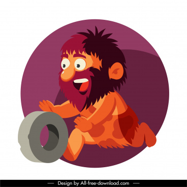cave man icon dynamic cartoon design