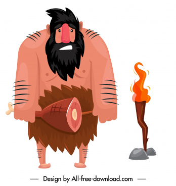 caveman icon ancient man sketch cartoon character