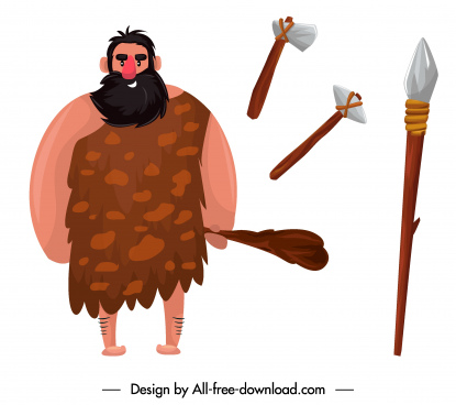 caveman icon ancient man stone javelin sketch