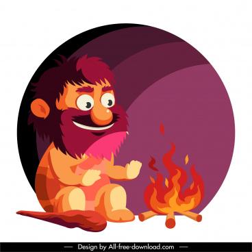 caveman icon burning fire sketch cartoon character sketch