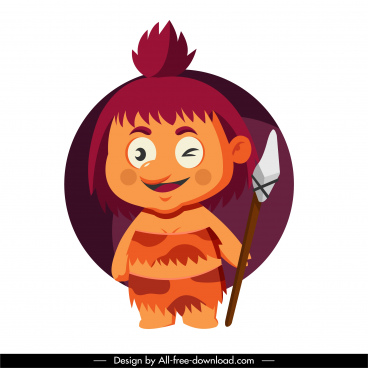 caveman icon cute kid sketch cartoon character design
