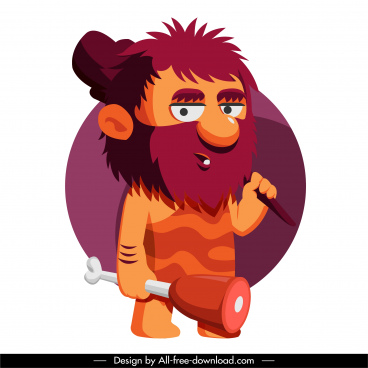 caveman icon funny cartoon character sketch