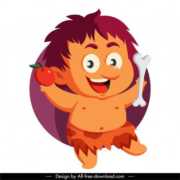 caveman icon joyful boy sketch cartoon character
