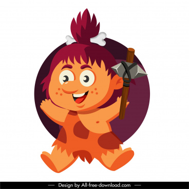 caveman icon joyful girl sketch cartoon character