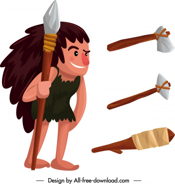 caveman icon stone weapon sketch cartoon character