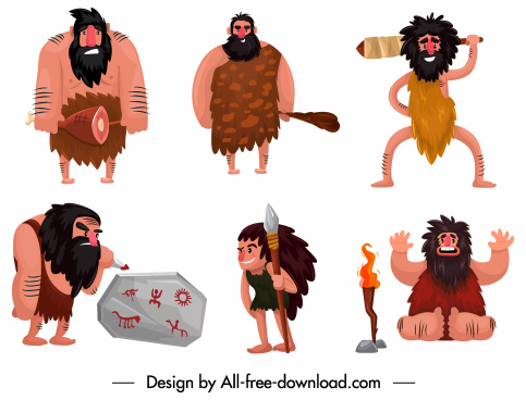 caveman icons funny cartoon characters