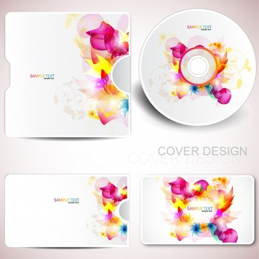 disk cover decor templates colorful sparkling flowers sketch