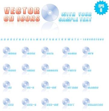 cdrom icon 01 vector