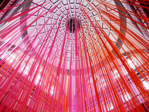 ceiling of ribbons