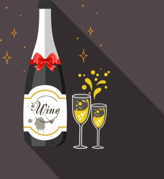 celebrating wine background champagne bottle glass icons decor