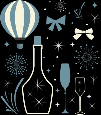 celebration background champagne fireworks icons sparkling dark design