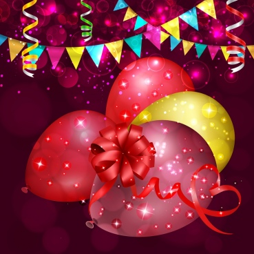 celebration background sparkling bokeh colorful balloons ribbons