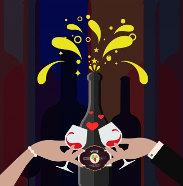 celebration background wine bottle glass clinking icons design