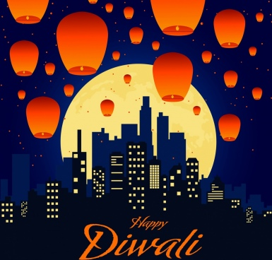 celebration banner flying lantern cityscape night moon decor