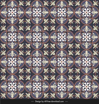 ceramic tile pattern repeating petals illusion dark classic