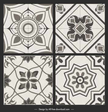 ceramic tile pattern templates black white flat symmetric