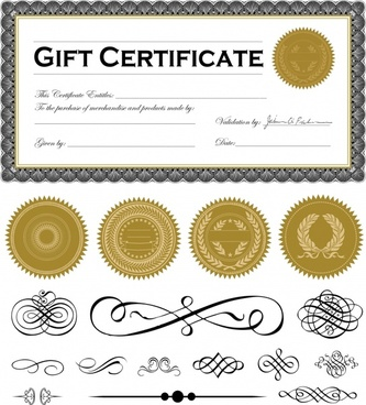 certificate design elements stamps decorative curves templates