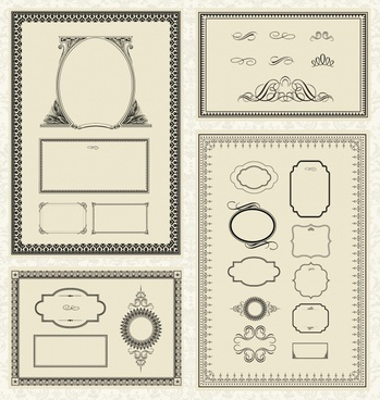 border design elements collection seamless symmetric vintage shapes