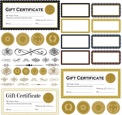 certificate frame and badges vector