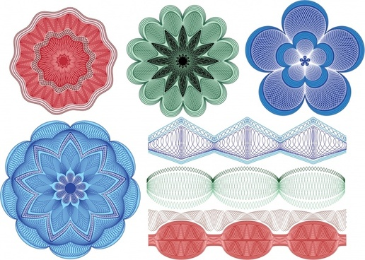 pattern design elements symmetric seamless decor flowers icons