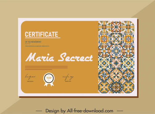 certificate template abstract floral pattern decor