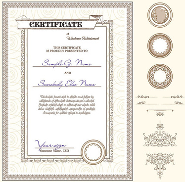 certificate template and decoration borders design vector