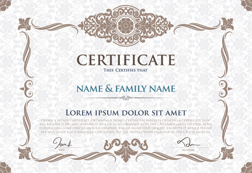 certificate template with retro frame vector
