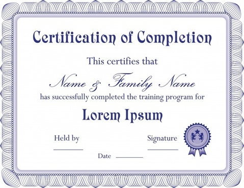certificate template classical design violet ornament