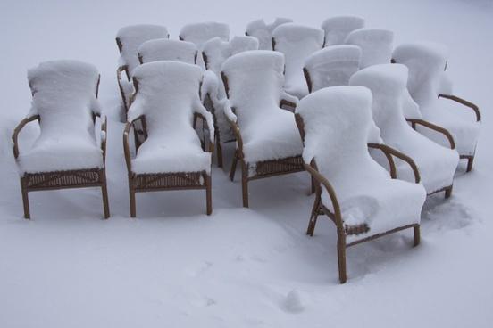 chairs beer garden snowy
