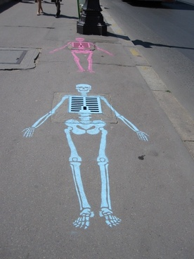 chalk drawing skeleton