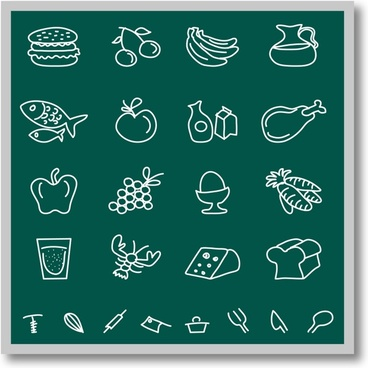 Chalkboard food icons