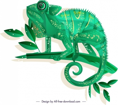 chameleon creature icon dark green sketch