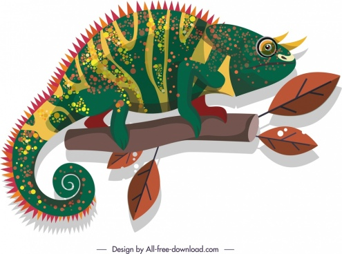 chameleon icon colorful classical flat decor