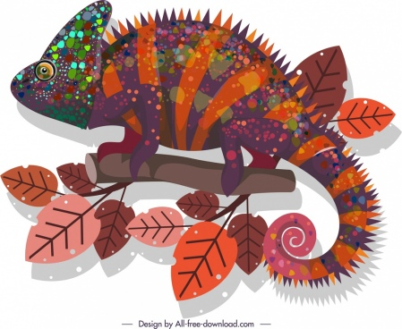 chameleon icon dark colorful bristle decor
