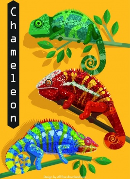 chameleon icons crawling branch design flat colorful decor