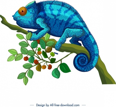 chameleon painting colorful classical design