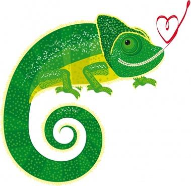 romance background chameleon icons flat design heart decor