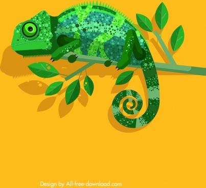 chameleon wild animal icon green flat design